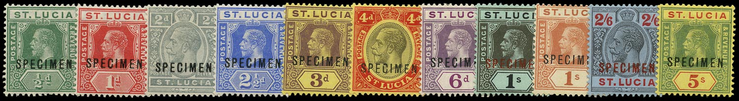 ST LUCIA 1912  SG78s/88s Specimen KGV set of 11 to 5s watermark MCA