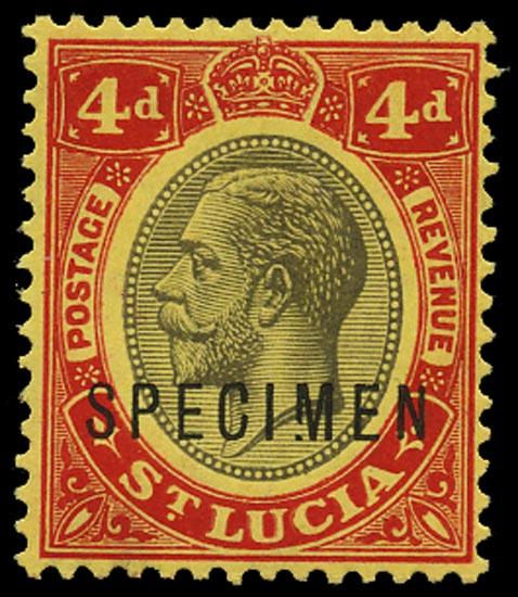 ST LUCIA 1912  SG83s var Specimen KGV 4d black and red on yellow paper variety Broken M