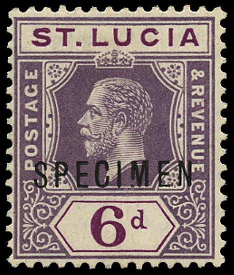 ST LUCIA 1912  SG84s var Specimen KGV 6d dull and bright purple variety Broken M