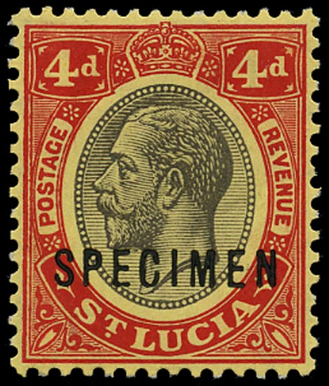 ST LUCIA 1912  SG83as Specimen KGV 4d black and red on yellow paper with white back
