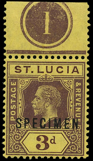 ST LUCIA 1912  SG82s Specimen KGV 3d purple and yellow with plate number