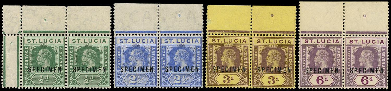 ST LUCIA 1912  SG82s Specimen KGV ½d, 2½d, 3d, 6d marginal pairs