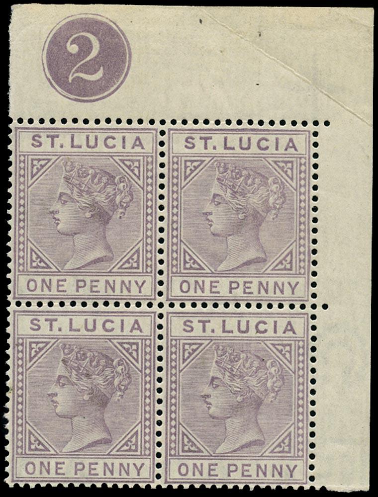 ST LUCIA 1886  SG39 Mint QV 1d dull mauve die I plate number '2' block of 4