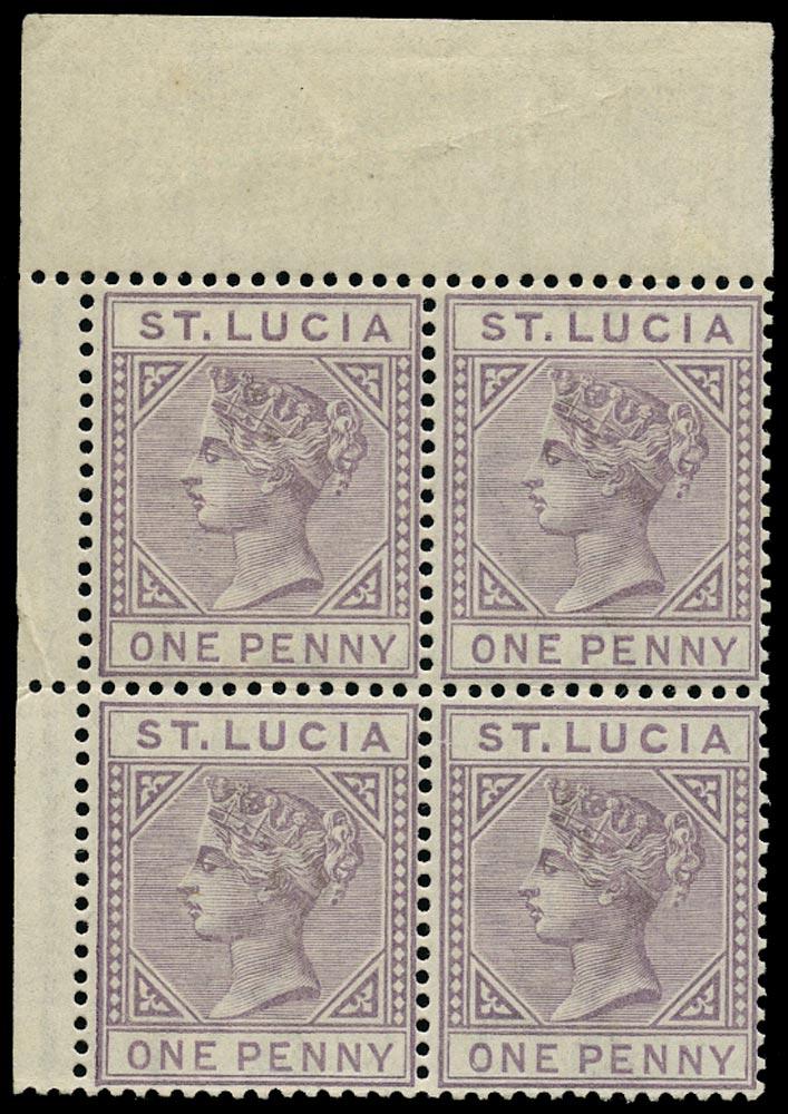 ST LUCIA 1886  SG39 Mint QV 1d dull mauve die I block of 4
