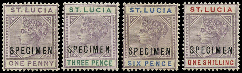 ST LUCIA 1886  SG39s/42s Specimen QV die I new colours set of 4 to 1s