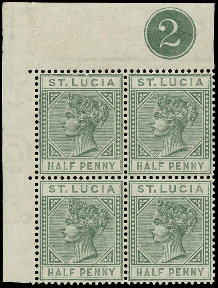 ST LUCIA 1883  SG31 Mint QV ½d dull green plate number 2 block of 4