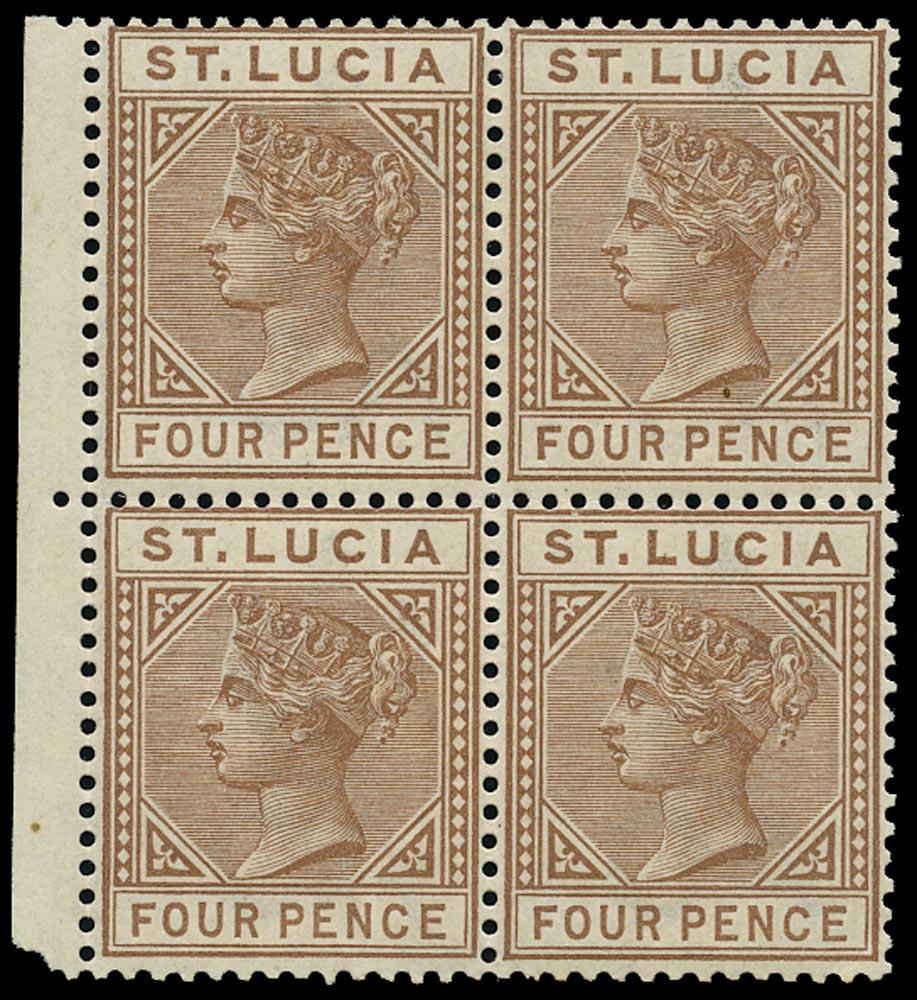 ST LUCIA 1883  SG34 Mint QV 4d brown block of 4