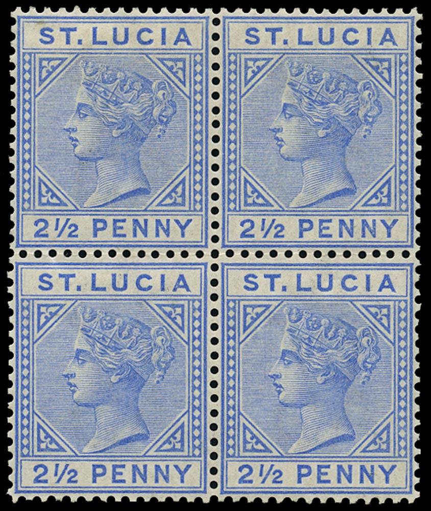 ST LUCIA 1883  SG33 Mint QV 2½d blue block of 4