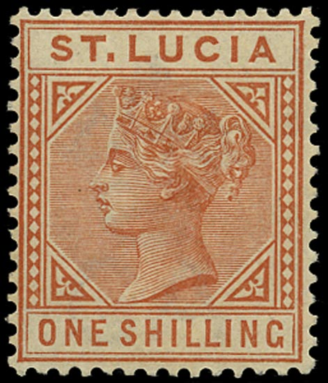 ST LUCIA 1883  SG36 Mint QV 1s orange-brown die I