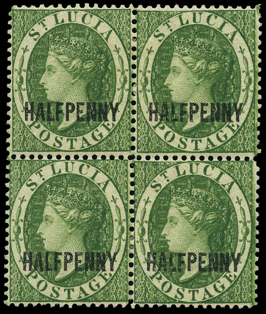 ST LUCIA 1882  SG25 Mint QV ½d green watermark CA Perkins Bacon printing