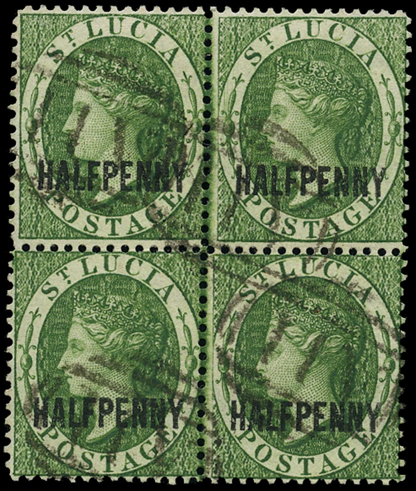 ST LUCIA 1882  SG25 Used QV ½d green watermark CA Perkins Bacon printing