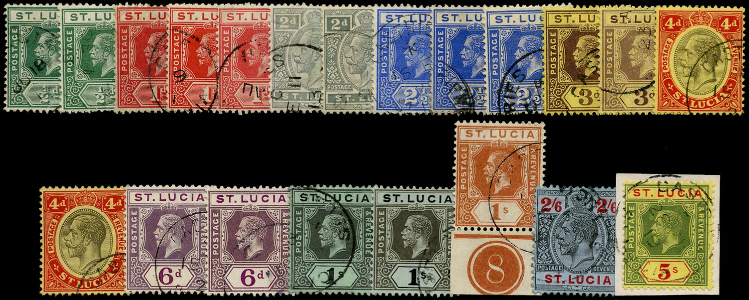 ST LUCIA 1912  SG78/88 Used KGV set to 5s watermark MCA inclg listed shades and 3d die II