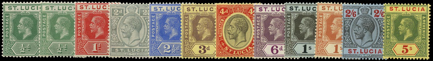 ST LUCIA 1912  SG78/88 Mint unmounted KGV set of 12 to 5s watermark MCA