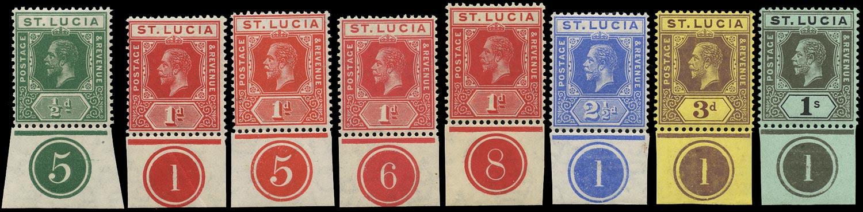 ST LUCIA 1912  SG78/85 btwn Mint KGV range of 8 plate number singles