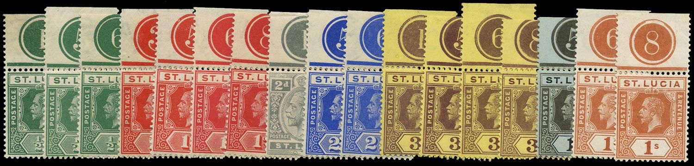 ST LUCIA 1912  SG78/86 btwn Mint KGV range of 17 plate number singles