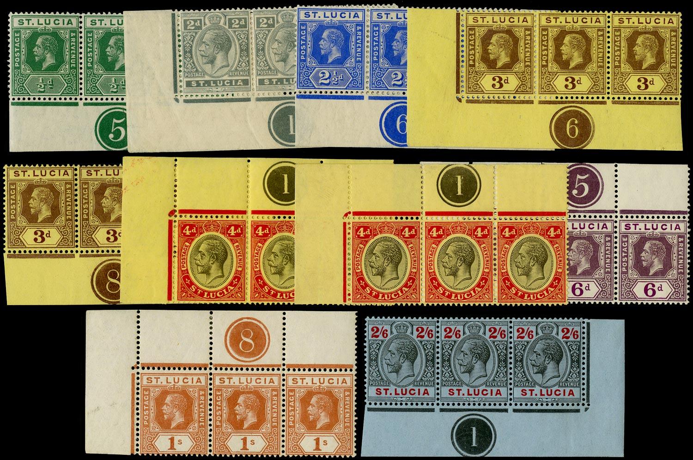 ST LUCIA 1912  SG78/87 btwn Mint KGV range of 10 plate number strips