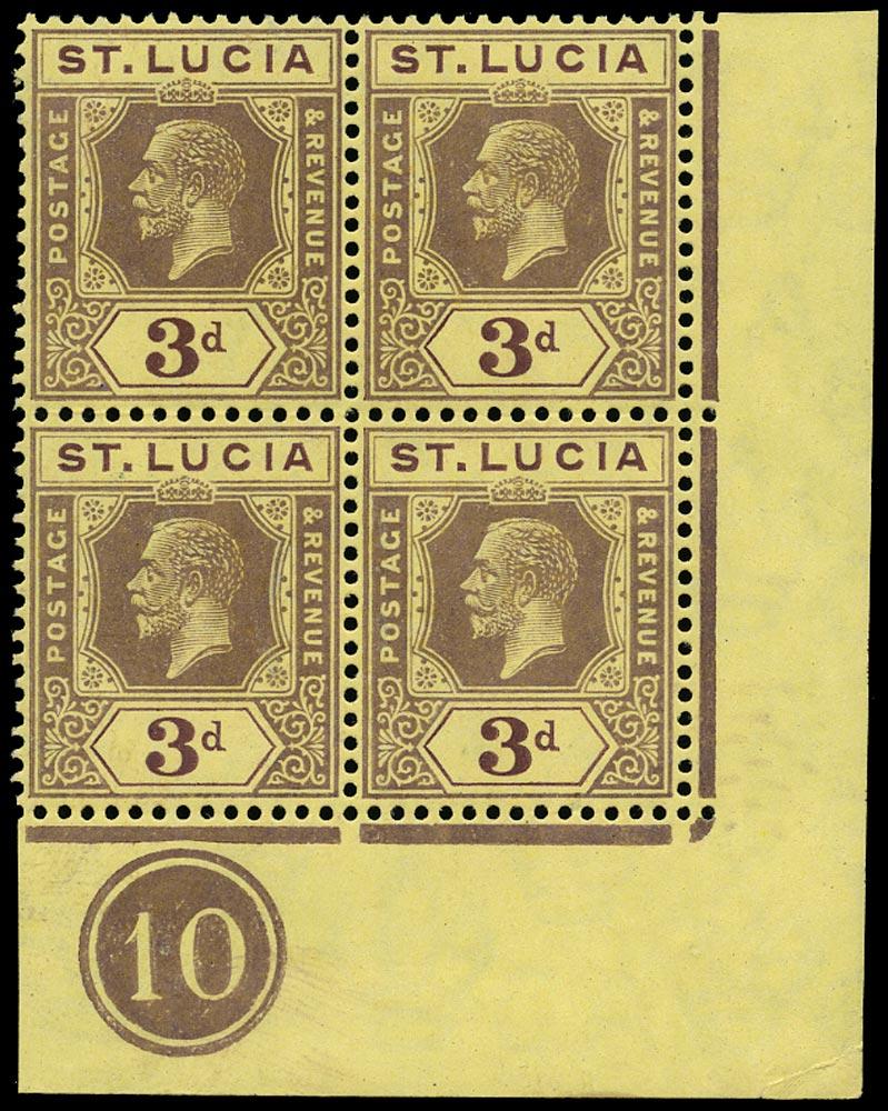 ST LUCIA 1912  SG82b Mint KGV 3d die II watermark MCA plate number 10