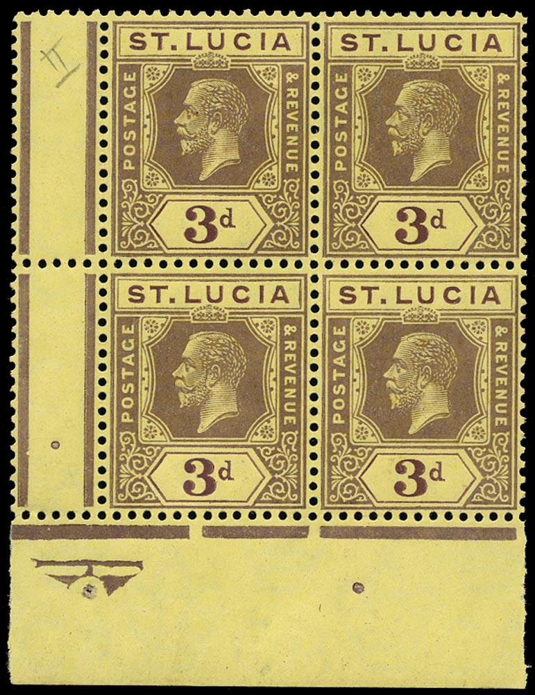 ST LUCIA 1912  SG82b Mint KGV 3d die II watermark MCA
