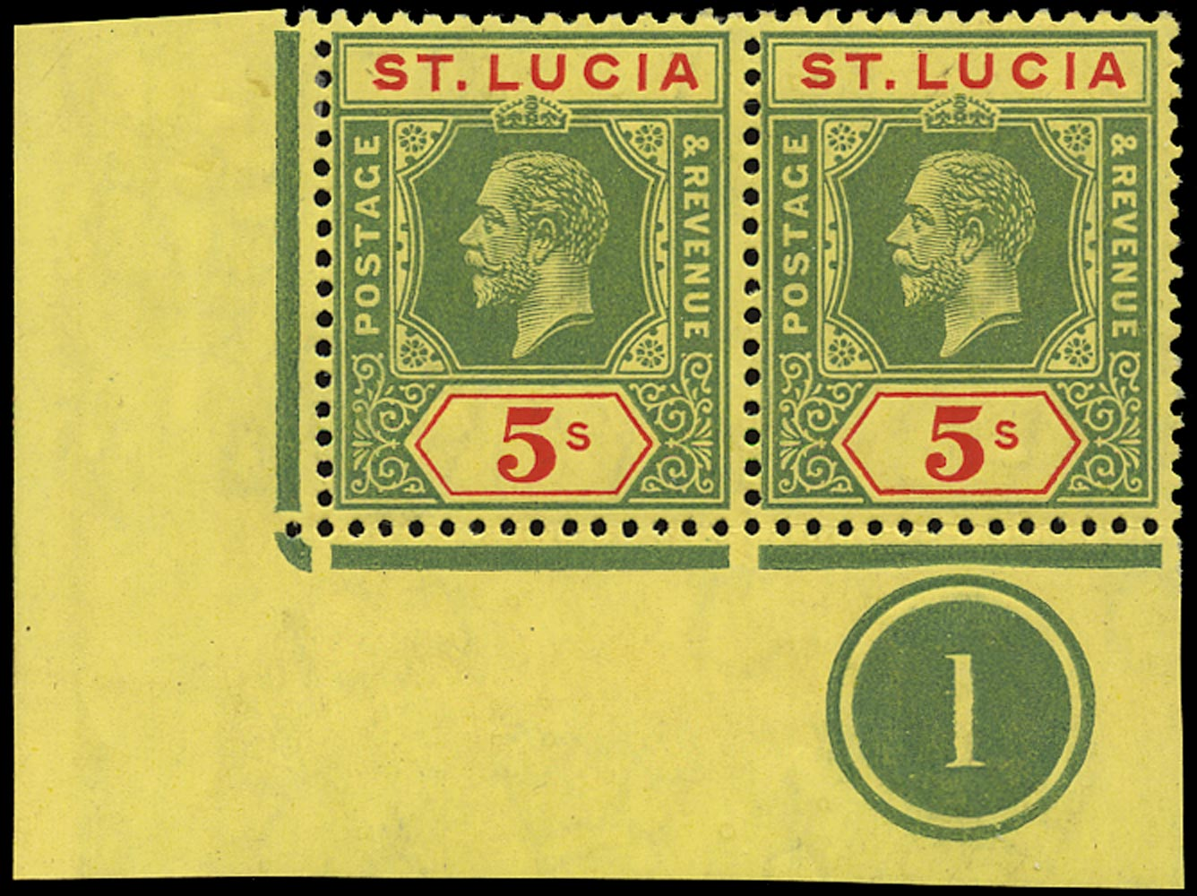 ST LUCIA 1912  SG88 Mint KGV 5s watermark MCA plate number 1