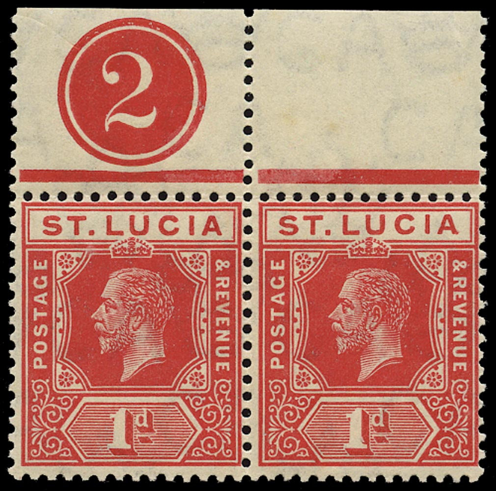 ST LUCIA 1912  SG79a Mint unmounted KGV 1d scarlet watermark MCA plate number 2