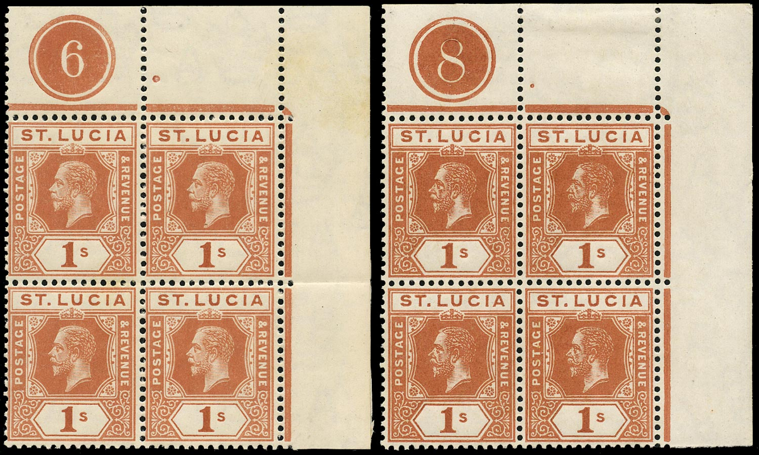 ST LUCIA 1912  SG86 Mint KGV 1s orange-brown watermark MCA plate number 6 and 8