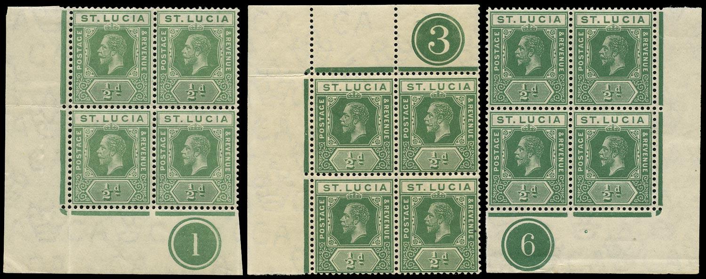 ST LUCIA 1912  SG78, 78a Mint KGV ½d green watermark MCA plate blocks of 4