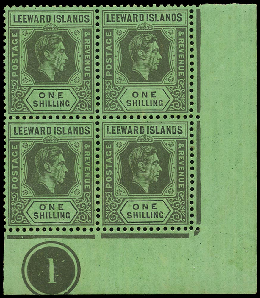 LEEWARD ISLANDS 1938  SG110a Mint unmounted KGVI 1s black on emerald paper with DI flaw