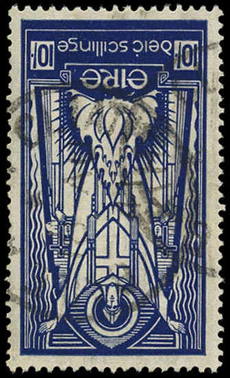 IRELAND 1937  SG104w Used 10s deep blue variety watermark inverted