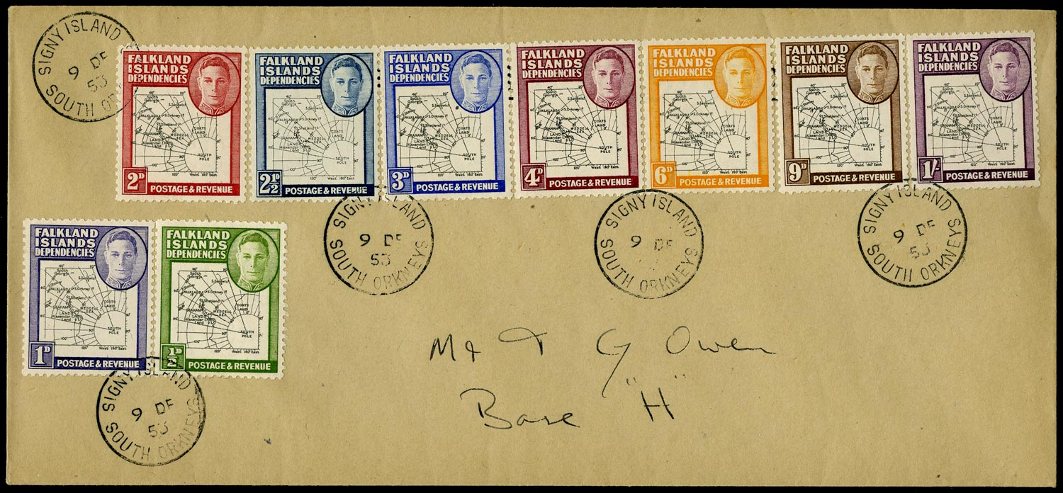 FALKLAND ISLAND DEPS 1953  SGG1/8, G4d, G11b Cover with 3d black and blue variety Extra dot by oval