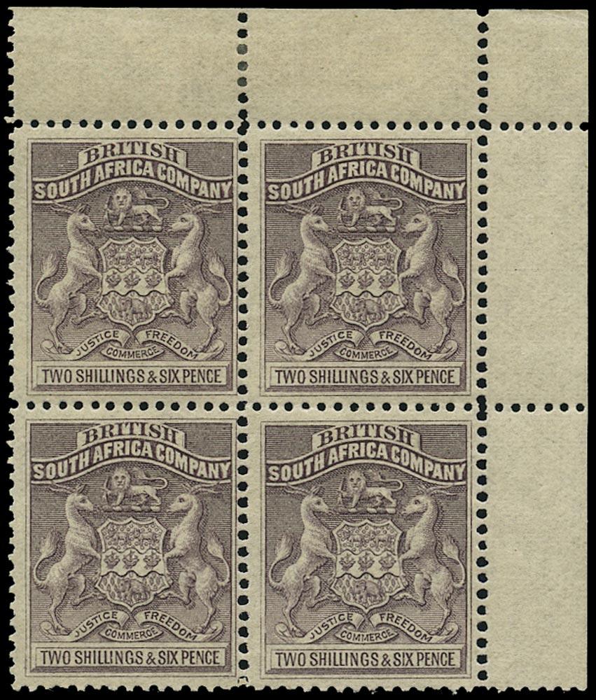 RHODESIA 1892  SG6 Mint Arms 2s6d grey-purple