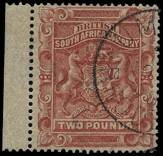 RHODESIA 1892  SG11 Used Arms £2 rose-red