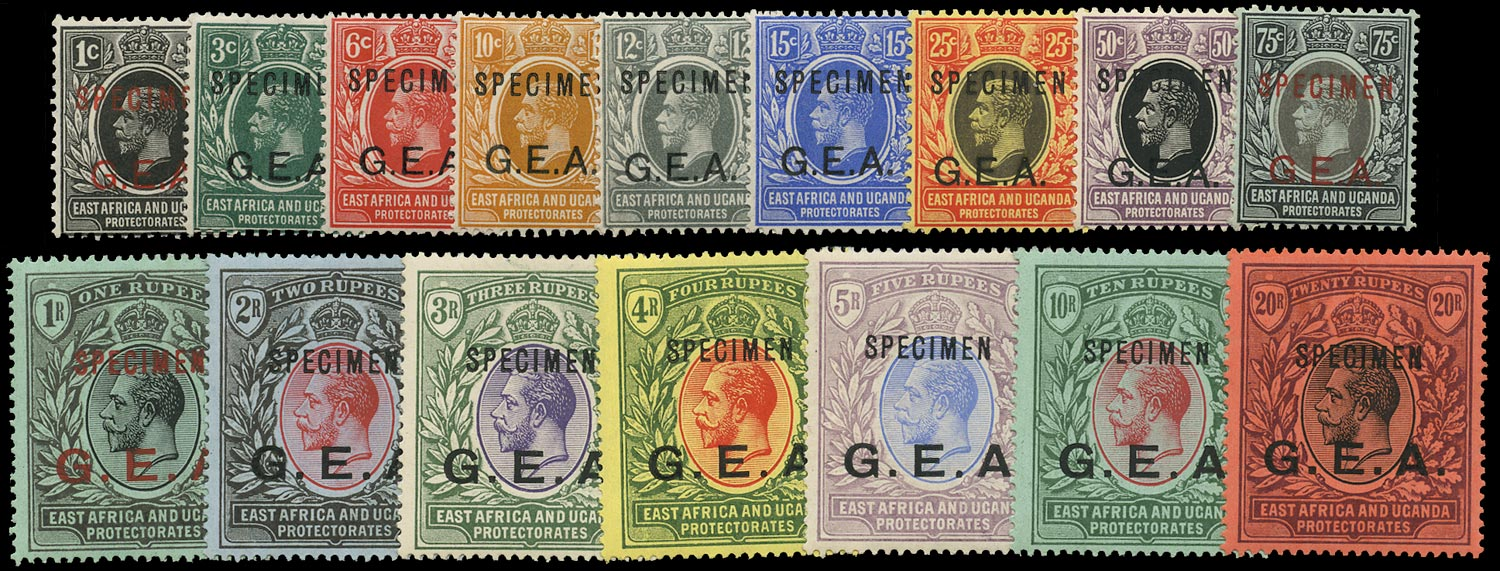 TANGANYIKA 1917  SG45s/61s Specimen G.E.A. overprint set of 16 to 20r