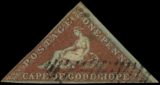 CAPE OF GOOD HOPE 1853  SG1 Used 1d pale brick-red on deeply blued paper Perkins Bacon printing