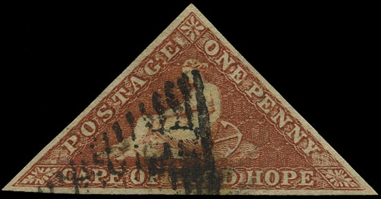 CAPE OF GOOD HOPE 1853  SG3a Used 1d brown-red on slightly blued paper Perkins Bacon printing