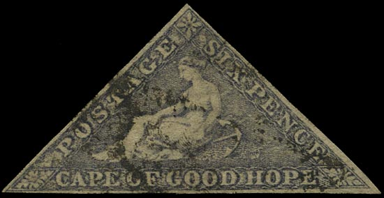 CAPE OF GOOD HOPE 1855  SG7c Used 6d slate-lilac on slightly blued paper Perkins Bacon printing