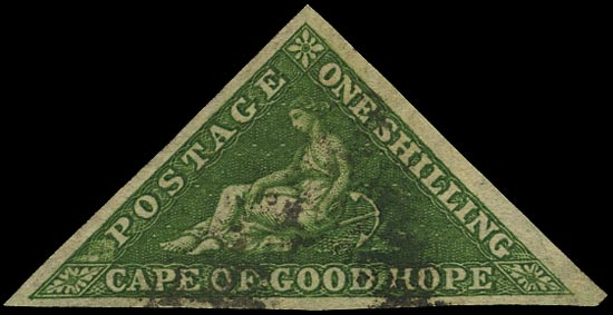 CAPE OF GOOD HOPE 1855  SG8 Used 1s bright yellow-green Perkins Bacon printing