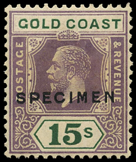 GOLD COAST 1921  SG100as Specimen 15s dull purple and green die II Script watermark