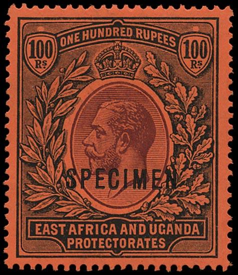 KUT 1912  SG62s Specimen 100r purple and black/red