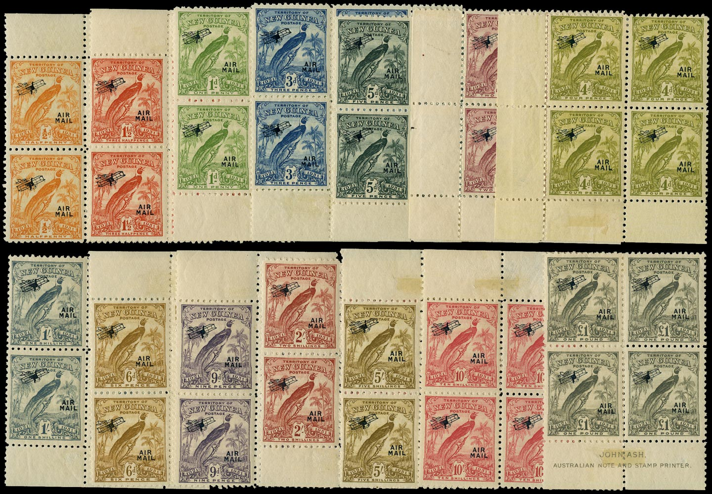 NEW GUINEA 1931  SG163/76 Mint Bird of Paradise Airmail set of 14 to £1 in blocks of 4