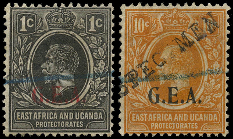 TANGANYIKA 1922  SG72/3 Specimen ex Bechuanaland UPU archive