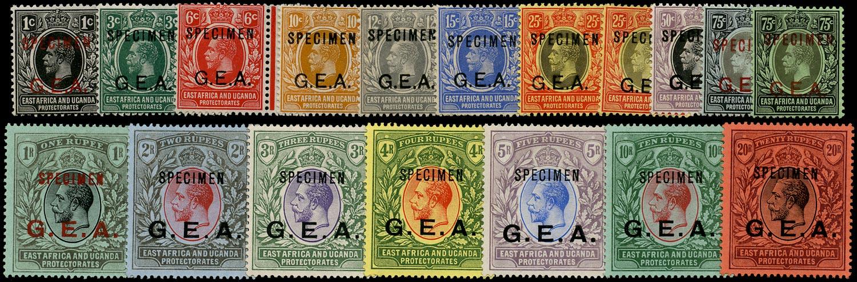 TANGANYIKA 1917  SG45s/61s Specimen G.E.A. overprint set of 16 to 20r