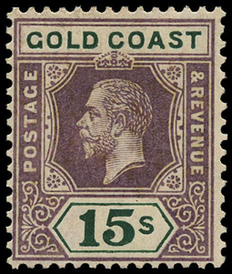 GOLD COAST 1921  SG100 Mint 15s dull purple and green (Die I)