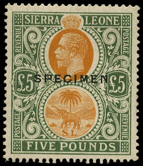 SIERRA LEONE 1921  SG148s Specimen Script wmk £5 orange and green