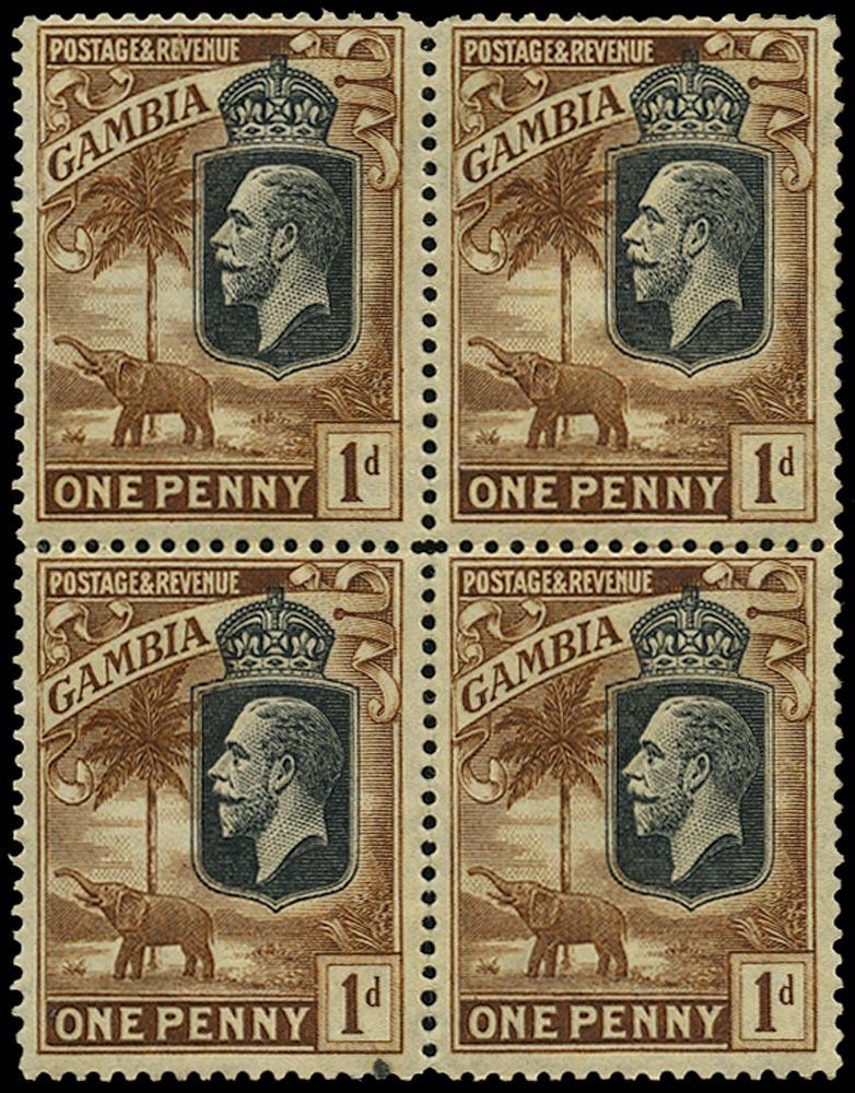 GAMBIA 1922  SG124var Mint frame printed on gummed side