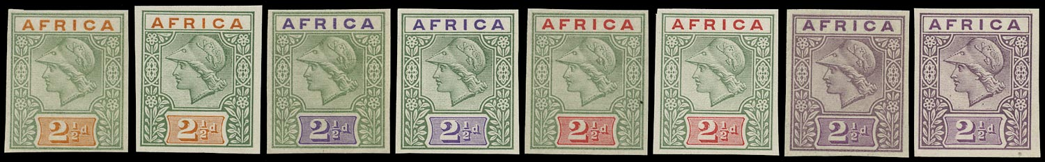 BRITISH COMMONWEALTH 1902 Essay De La Rue Africa keyplate Trials