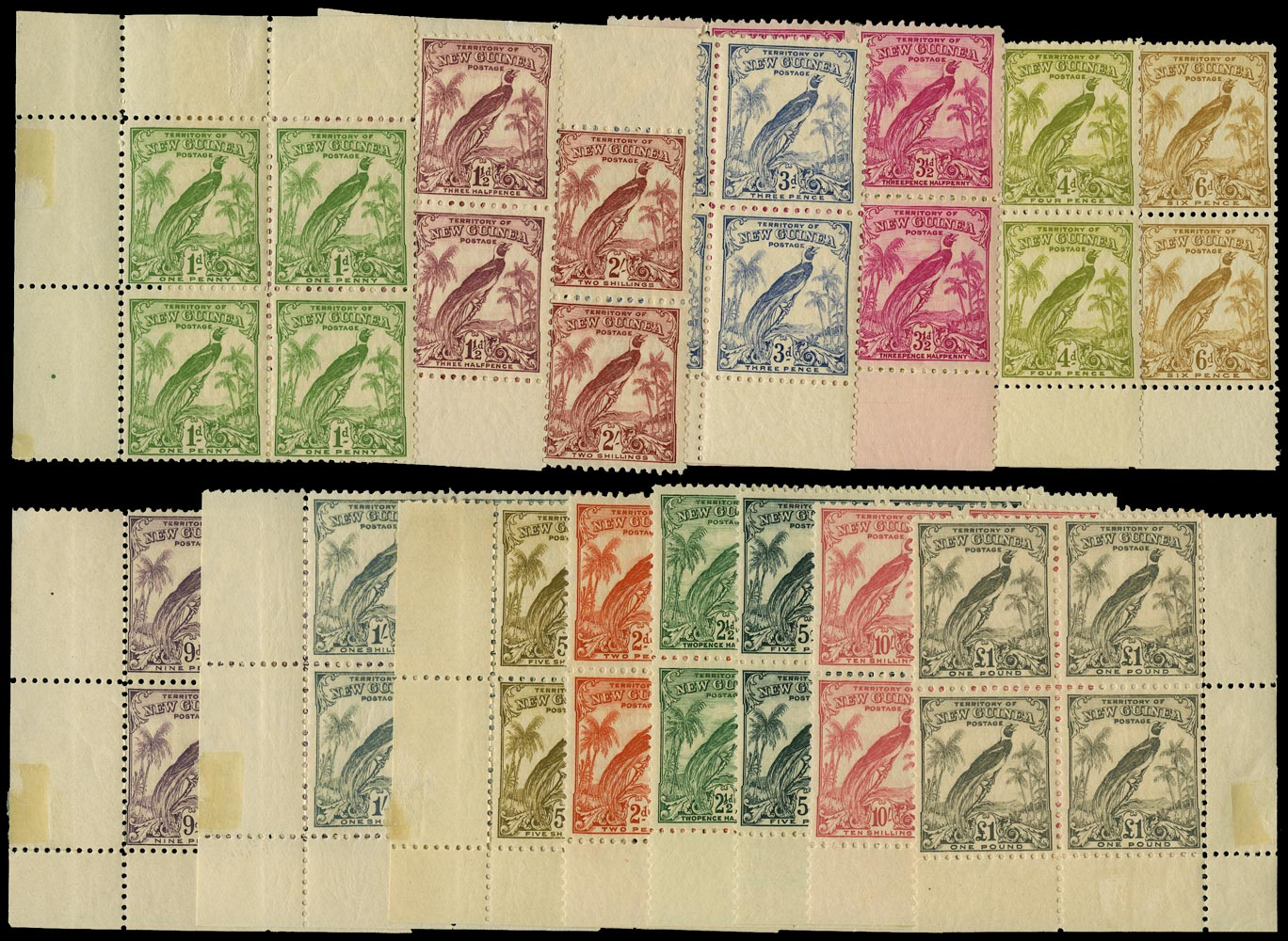 NEW GUINEA 1932  SG177/89 Mint Bird of Paradise redrawn without dates set of 15 to £1