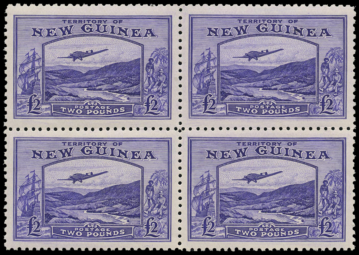 NEW GUINEA 1935  SG204 Mint Air £2 bright violet Bulolo Goldfields block of 4