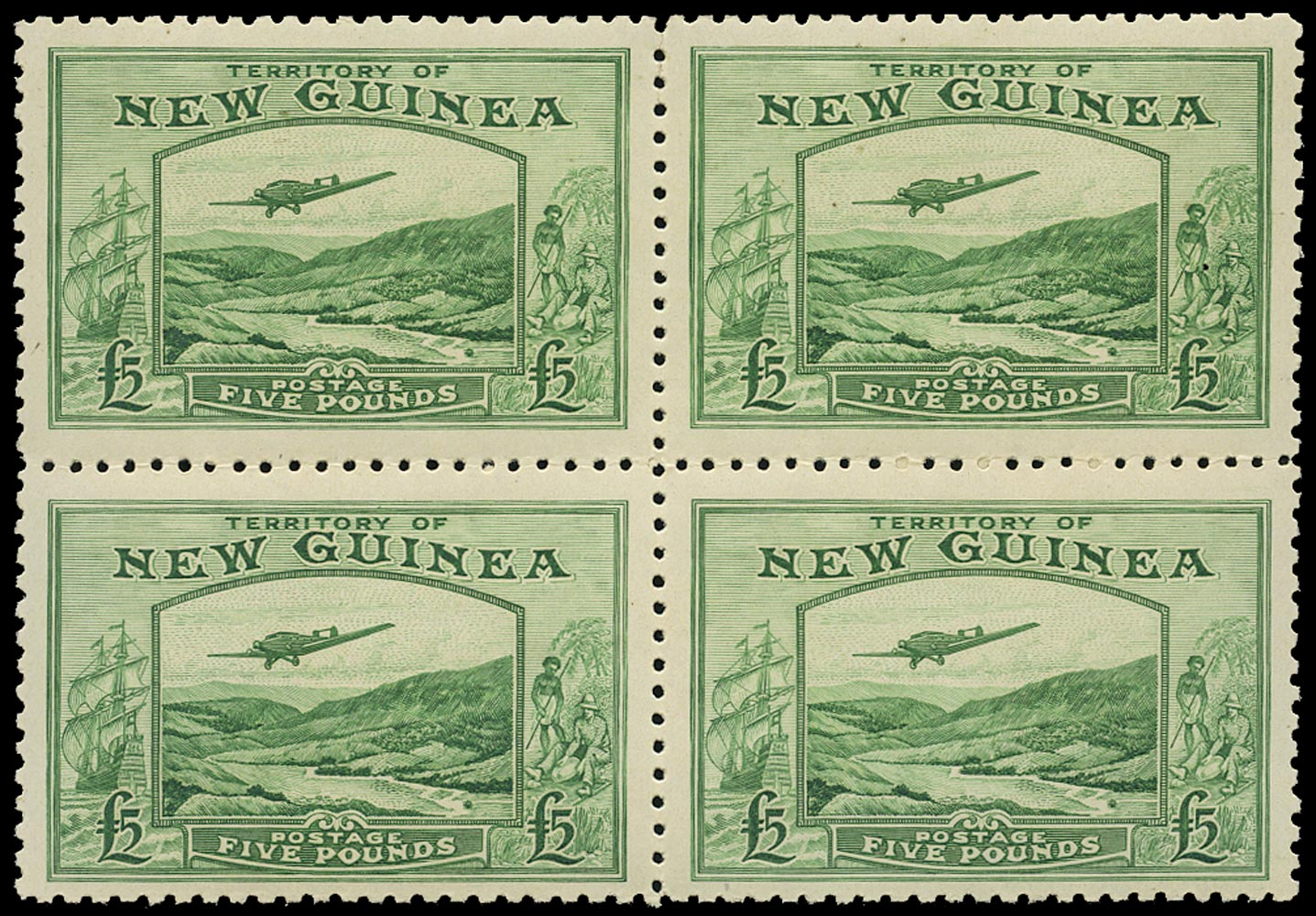NEW GUINEA 1935  SG205 Mint unmounted Air £5 emerald-green Bulolo Goldfields block of 4