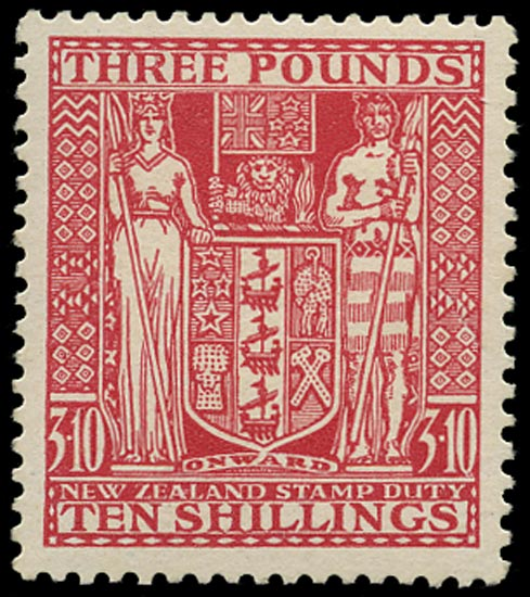 NEW ZEALAND 1931  SGF165 Postal Fiscal Arms £3 10s rose on Cowan paper