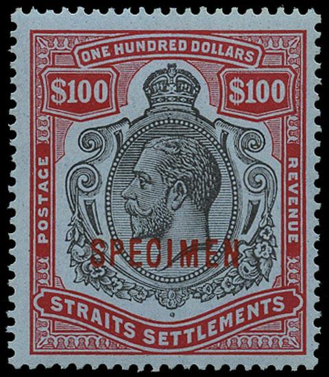 MALAYA - STRAITS 1912  SG214s Specimen $100 black and carmine on blue paper watermark MCA